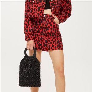 NWT Topshop leopard print high waist denim skirt